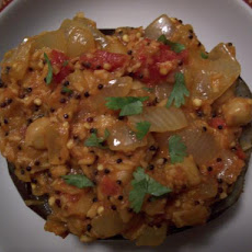 Tomato-Chickpea Curry in Eggplant Shells