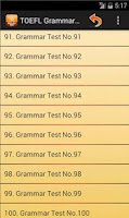 Screenshot of TOEFL Grammar Test