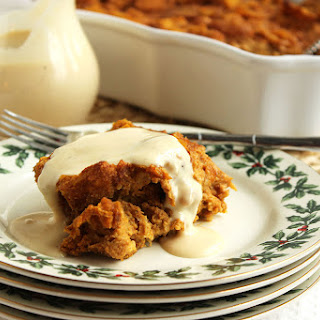 Pumpkin Bread Pudding with Eggnog Bourbon Sauce