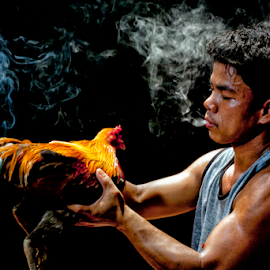 Smokin' Cock by J D - People Portraits of Men ( rooster, smoke )