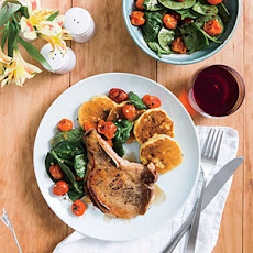 Honey-Glazed Pork Chops and Tomato Salad