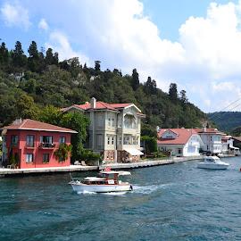 Neighborhood near the Bosphorus lake by Vihayas Revikumar - City,  Street & Park  Neighborhoods ( lake, scenic view, turkey, vibrant, boat )