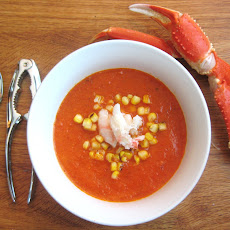 Roasted Red Pepper Soup with Charred Corn and Crab