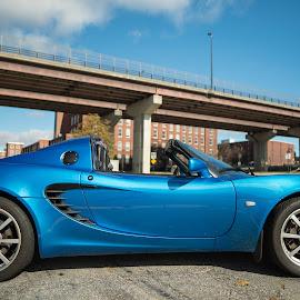 Elise by Michael Otero - Transportation Automobiles ( car, droptop, sportscar, lotus, blue, bluecar, carshoot, bluesky, bridge, bluepaint, bluelotus )