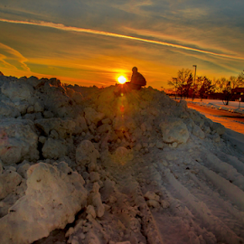 Sunset In Winter by Joseph Law - City,  Street & Park  City Parks ( hill, winter, sunset, snow, image, beautiful evening )