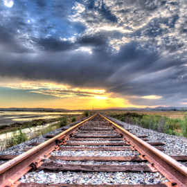 The Unknown by Kevin Denton - Transportation Railway Tracks ( sunsets, napa california, raidroad, cuttings warf,  )