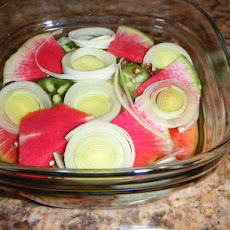 Lucky Pickle (Leek and watermelon radish)