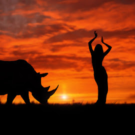 Before Dark by Errys Wiskan - Digital Art Things ( woman, sunset, fine art, rhino )