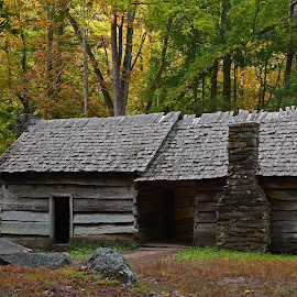 Ephraim Bales Place by Norm Dunlap - Buildings & Architecture Public & Historical ( ephraim bales, double cabin, tennessee, roaring fork, smoky mountains )