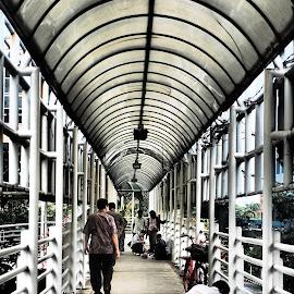 crossing bridge by Lisawati Gunawan - City,  Street & Park  Street Scenes