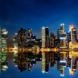 Singapore  by Matthew Ferguson - City,  Street & Park  Skylines ( lights, night, cityscape, singapore, marina bay )