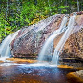 Rocky Waterfall by Ed Esposito - Landscapes Waterscapes ( nature, rocky, waterfall, trio, woods )