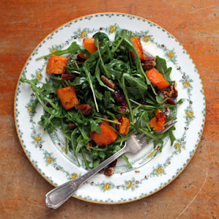 Arugula Salad with Roasted Butternut Squash, Cranberries, and Candied Pecans