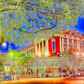 Colour Sketch Of Calcutta by Chiradeep Mukhopadhyay - Digital Art Places ( west bengal, building, kolkata, canvas, architecture, city, photo art, calcutta, tree, colour sketch, india, lamp post, painting )