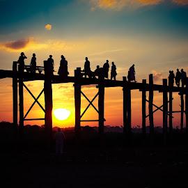 U Bien bridge by Jinny Tan - Buildings & Architecture Bridges & Suspended Structures ( myanmar, sunset, bridge, landscape, people )