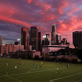Soccer in the Evening by Andy Chinn - City,  Street & Park  City Parks ( skyline, los angeles skyline, blue hour, sunset, los angeles, magic hour, cityscape, soccer,  )