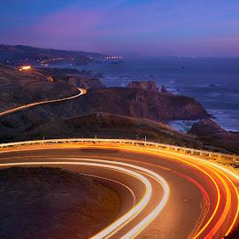Famous Pacific Coast Highway  by Dustin Penman - Landscapes Travel ( lights, dustin, break lights, county, sea, pacific, ocean, coast.highway, night, road, penman, sonoma )