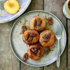 Campfire Roasted Caramel Peaches with Pecans