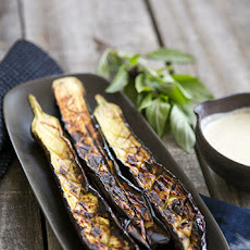 Grilled Japanese Eggplant with Tahini Sauce