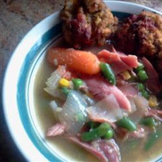 Turkey Soup with Dressing Dumplings