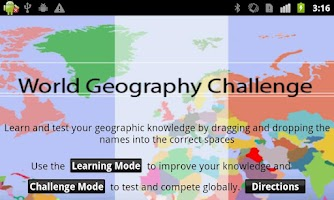 Screenshot of World Geography Challenge