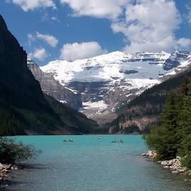 Beautiful Lake Louise by Lena Arkell - Landscapes Mountains & Hills ( glacier, mountain, alberta, turquoise, lake )