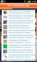 Screenshot of RCI's Hobbyking App