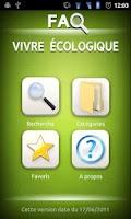 Screenshot of FAQ Vivre écologique