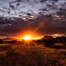 Almost Gone by Theresa Ditson - Landscapes Sunsets & Sunrises ( clouds, hills, mountains, fields of gold, sunset, arizona, perkinsville, grasslands )