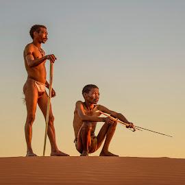 Golden Hour by Ferdinand Veer - People Group/Corporate ( desert, san, kalahari )
