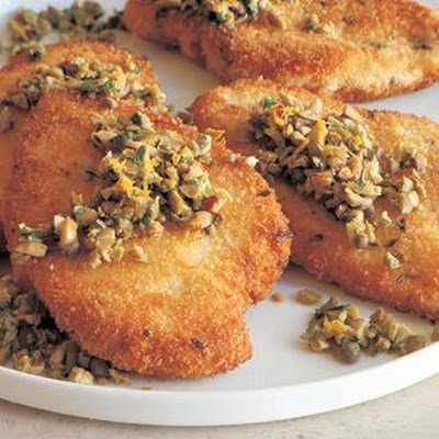 Breaded Chicken Cutlets with Green Olive-Lemon Relish