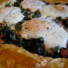 Maple-Balsamic Kale and Egg Brunch Tart With Canadian Bacon and Sharp White Cheddar