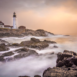 Portland Head Light by Givanni Mikel - Buildings & Architecture Other Exteriors ( portland, lighthouse, sunrise, head, light,  )