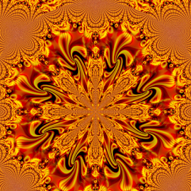 BRIK 4 by Tina Dare - Illustration Abstract & Patterns ( abstract, kaleidoscope, patterns, designs, distorted, oranges, golds, shapes )