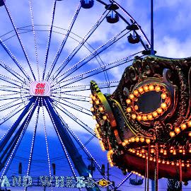 On the Grand Wheel by Michael Genovese Lmt - City,  Street & Park  Amusement Parks ( lights, clouds, carousel, slow shutter, ferris wheel, creativity, lighting, art, artistic, purple, mood factory, color, fun )