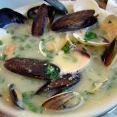 Fish, Clams, and Mussels with White Wine and Garlic