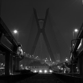 Curved suspension by Jacob Marsh - Buildings & Architecture Bridges & Suspended Structures ( brazil, black and white, south america, travel, nikon, bride, travel photography )