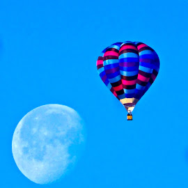 Lunar balloon by Hunter Ten Broeck - Transportation Other ( hot air balloon, moon, blue, albuquerque, new mexico )