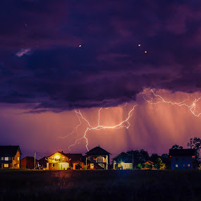 Storm is coming by Srdjan Vujmilovic - Landscapes Weather ( canon, flattr, blot, land, house, storm, photography, sky, nature, night photography, tree, village, weather, cloudy, light, rain, clouds, thunder, star, cloudscape, forest, photo, lightning, stars, blub, cloud, night, creativity, lighting, art, artistic, purple, mood factory, lights, color, fun, path, landscape, , stormy, colorful, vibrant, happiness, January, moods, emotions, inspiration, Earth, Light, Landscapes, Views )