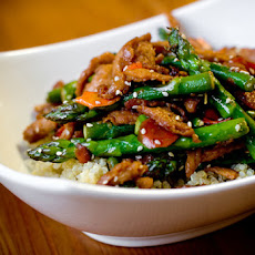 Sesame Soy Curls with Asparagus and Quinoa