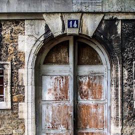 Decaying Door by Andy Vic Lindblom - Buildings & Architecture Other Exteriors ( paris, stairs, deteriorating, arch, wood, brick, door, france )