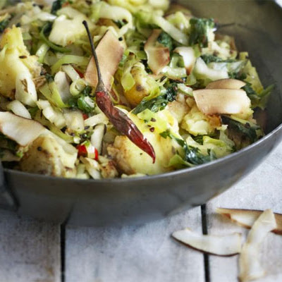 Gujarati Cabbage With Coconut & Potato