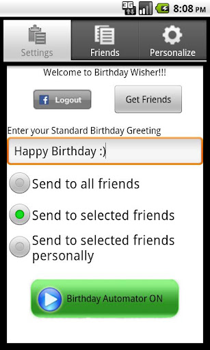 Birthday Wisher for Facebook