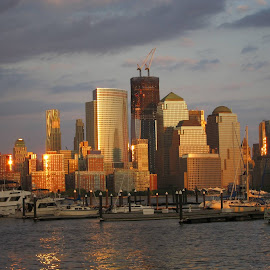 NYC Skyline - WTC by Mahmoud Ablan - Buildings & Architecture Office Buildings & Hotels ( wtc, new york skyline, sunset, world trade center, buildings, new york city, nyc, construction, hudson, river )