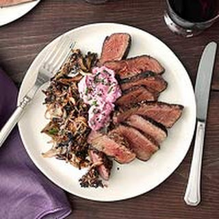 Petite Filets with Spicy Pink Creme Fraiche & Shoestring Mushrooms