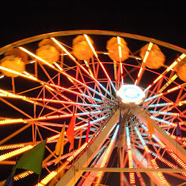 Ferris Wheel at Night by Kaye Petersen - City,  Street & Park  Amusement Parks ( lights, night, fun, fair, ferris wheel, Lighting, moods, mood lighting )