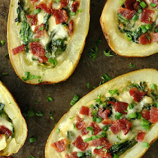 Spinach and Artichoke Loaded Potato Skins