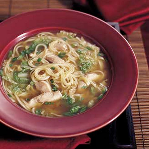 Chinese Chicken Noodle Soup with Sesame and Green Onions