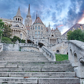 Fisherman's Bastion, Budapest, Hungary by Péter Mocsonoky - Buildings & Architecture Public & Historical ( famous, old, europe, arch, stone, architecture, travel, bastion, capital, attraction, historic, city, travel destination, sky, style, monument, fishermans, hungary, budapest, building, beautiful, tourism, hungarian, history, landmark, urban, tower, staircase, scene, castle, fisherman, buda, step )