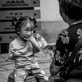 Non-Verbal Communication by Tom Reiman - Babies & Children Children Candids ( water, b&w, girl, communication, non-verbal, chinese,  )